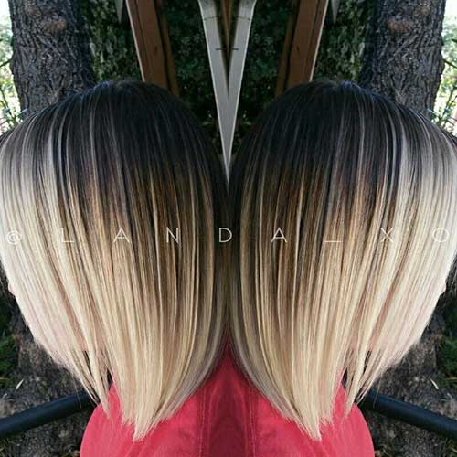 Balayage short hair brown to blonde