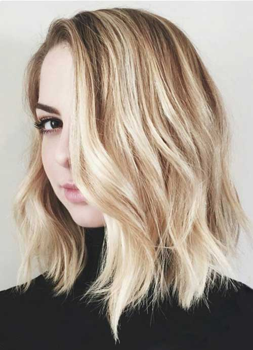 Blonde Medium to Short Wavy Bob Haircuts
