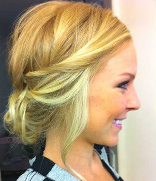 Cute Messy Bun For Short Blonde Hair