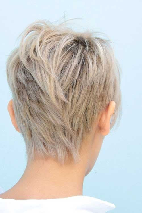 Layered Blonde Pixie Cut Back View Images