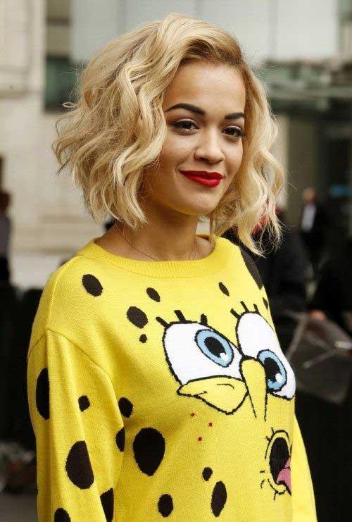 Rita Ora Thick Wavy Blonde Bob