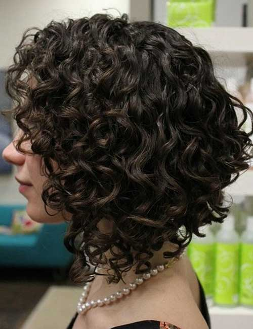 Inverted Short Curly Hairstyles for Women