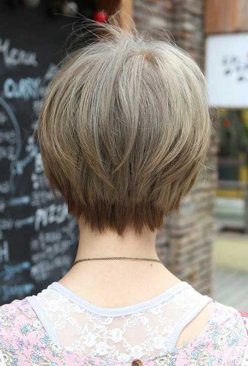 Short Hair Straight Fine Bob Back View