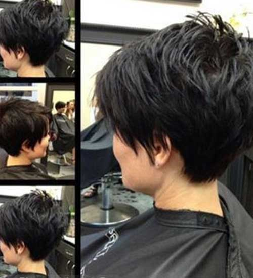 Short Haircut in Layers Back View