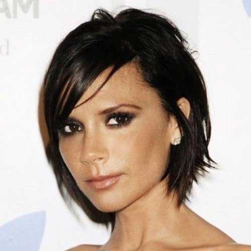 Short Layered Dark Hair Women