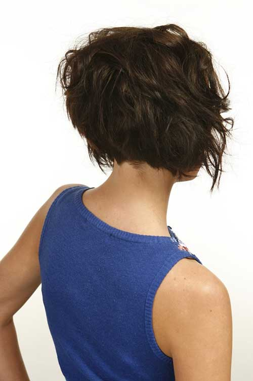 Short Layered Wavy Hair Back View
