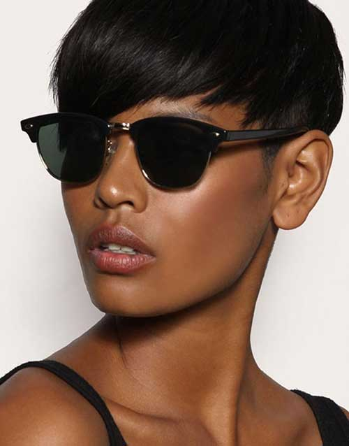 Short Straight Pixie Cuts for Cute Black Girl