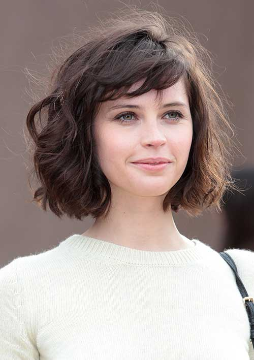 Short Wavy Curly Bob with Bangs Style