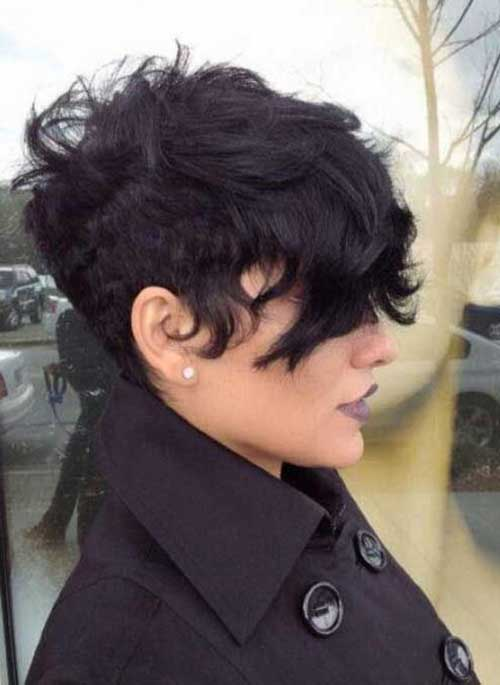 Short Wavy Curly Pixie Undercut Style
