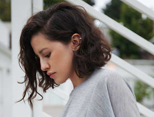 Wavy Curly Inverted Bob Hairstyles