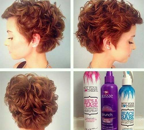 Wavy Curly Short Pixie Side View Look
