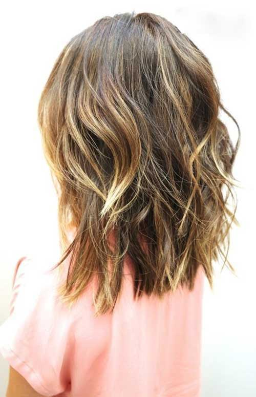 Back View of Wavy Medium to Short Haircuts