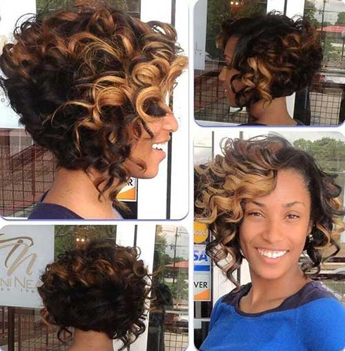 Black Curly Thick Bob Hair