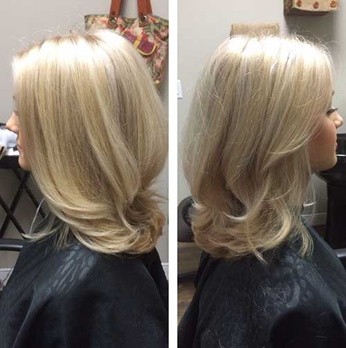 Blonde Layered Medium to Short Haircuts