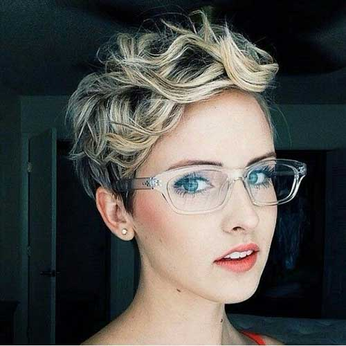 Blonde Pixie Haircut Curly Hair