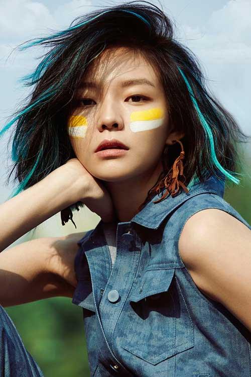 Korean Blue Highlighted Bob Hairstyles