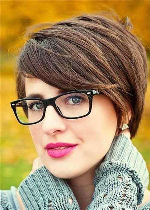 Brown Colored Straight Trendy Short Haircuts