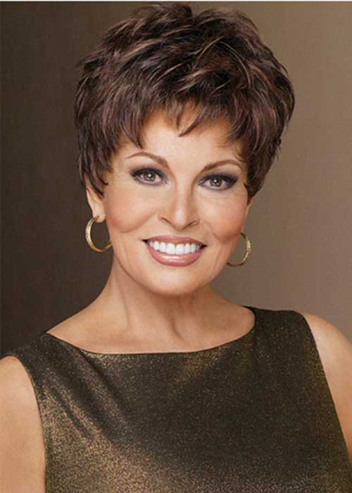 Brown Pixie Hair Cut for Older Women