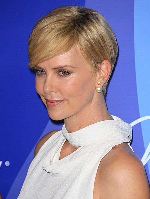 Charlize Theron Straight Pixie Hair