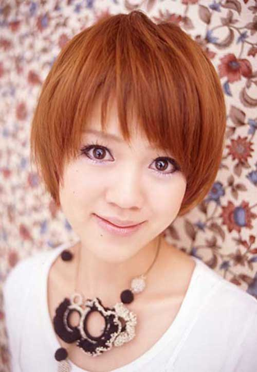 Copper Short Straight Hairstyles And Round Faces