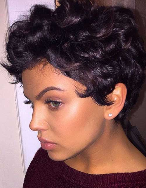 Cute Dark Curly Hairstyles for Short Hair