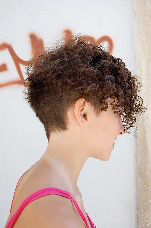 Cute Short Side Shaved Curly Hairstyles
