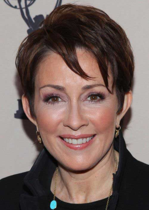Dark Brown Pixie Haircuts Older Women