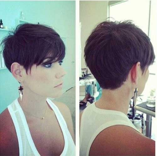 Dark Long Pixie Hairstyles