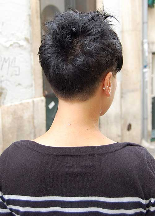 Dark Pixie Haircuts Back View