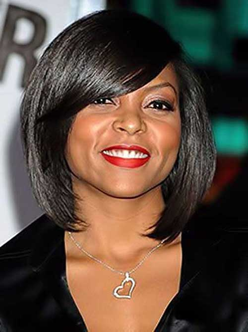 Stylish Dark Short Hairstyles for Round Faces Black Women