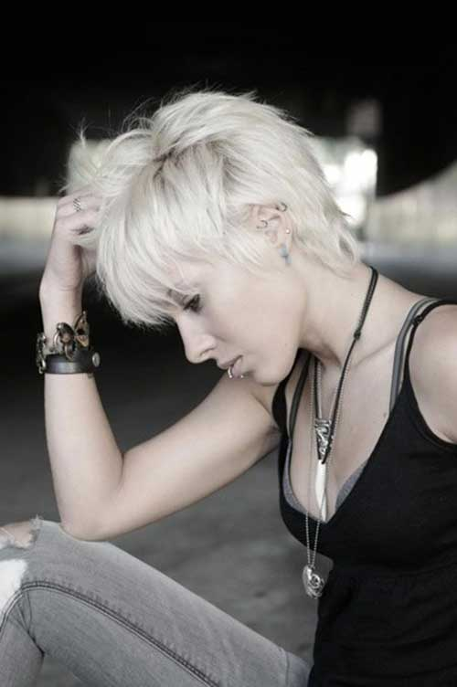 Edgy Blonde Pixie Hairstyles 2015