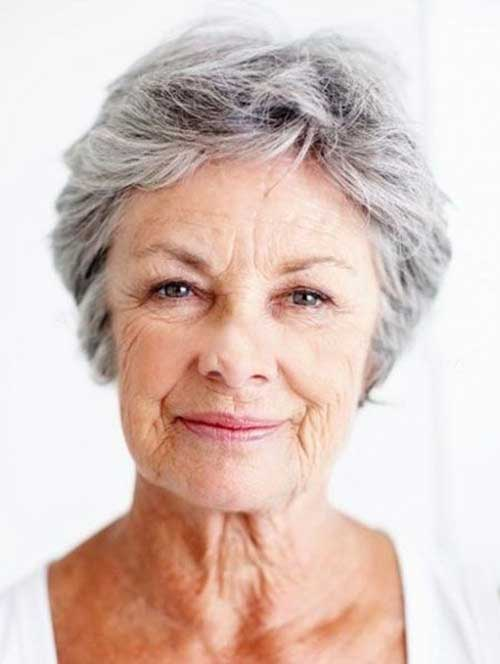 Gray Pixie Haircuts for Older Ladies