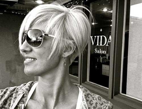 Layered Straight Blonde Pixie Hair