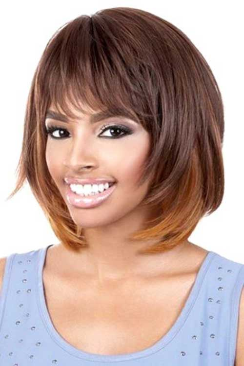 Layered Bob Haircut With Bangs For Black Women