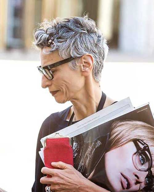 Layered Short Pixie for Mature Ladies