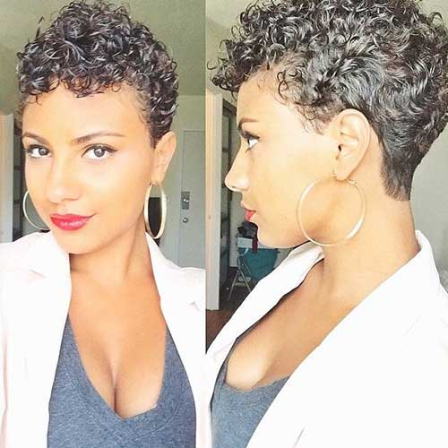 Pixie Haircut Dark Natural Curly Hair