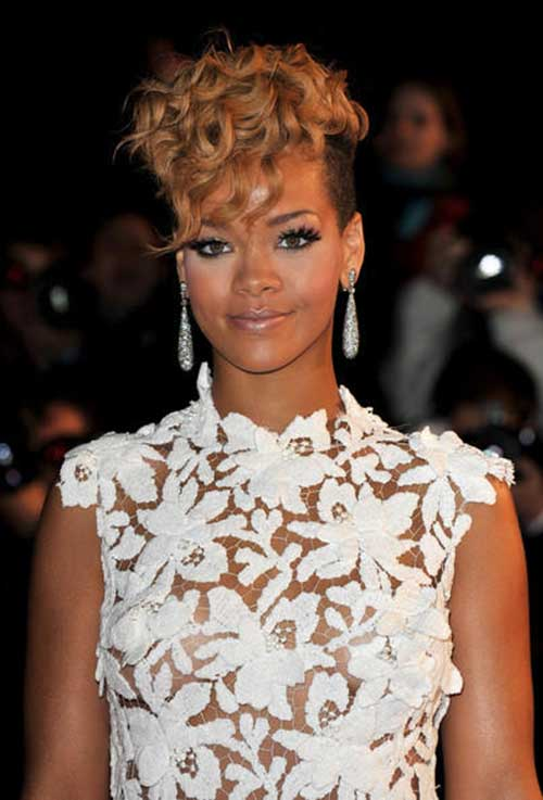 Rihanna Curly Short Mohawk Hair