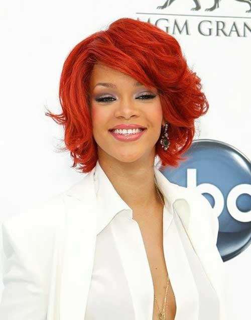 Rihanna Curly Short Red Bob Hair