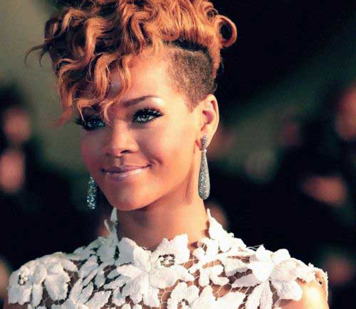 Rihanna Curly Side Shaved Pixie Hair