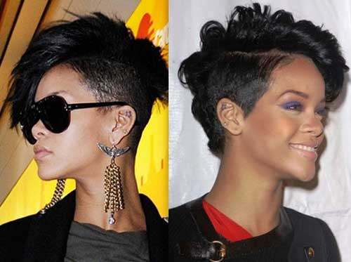 Rihanna Cute Curly Short Mohawk