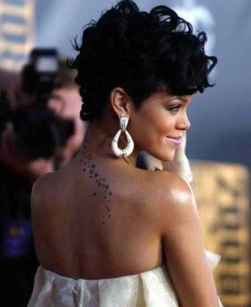 Rihanna Short Black Curly Haircuts