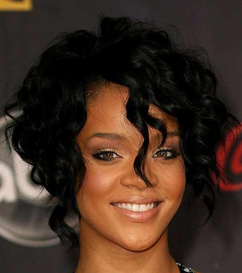 Rihanna Short Curly Bob Hair Cuts