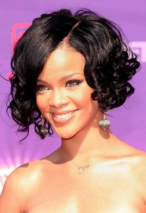 Rihanna Short Curly Bob Cut
