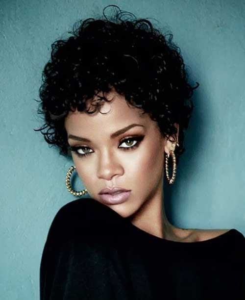 Rihanna Short Curly Pixie Haircuts