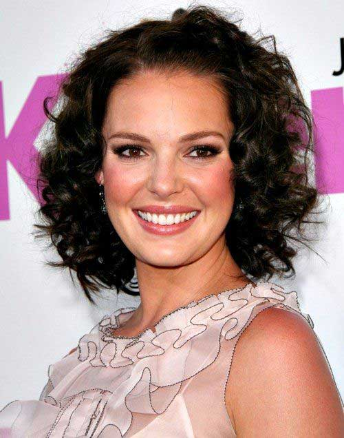 Short Curly Brown Hairstyles for Oval Face