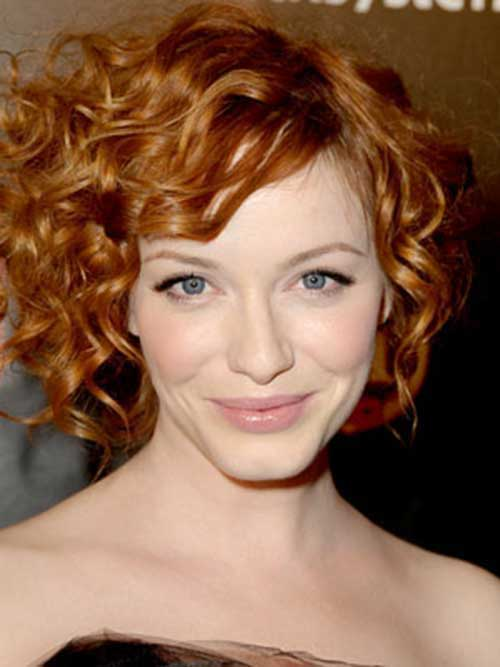 Short Curly Red Hairstyles for Oval Face