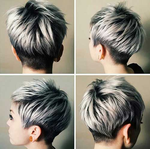 Silver and Black Pixie Haircuts