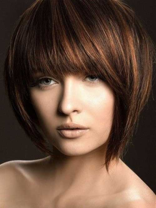 Straight Short Dark Brown Hairstyles for Round Faces
