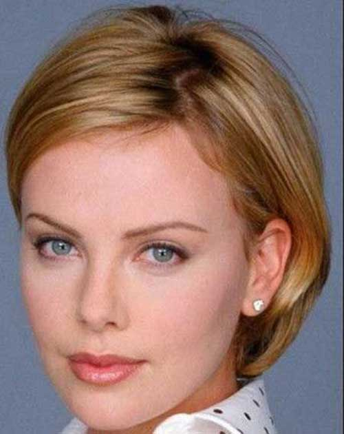 Nice Straight Short Hairstyles for Round Faces