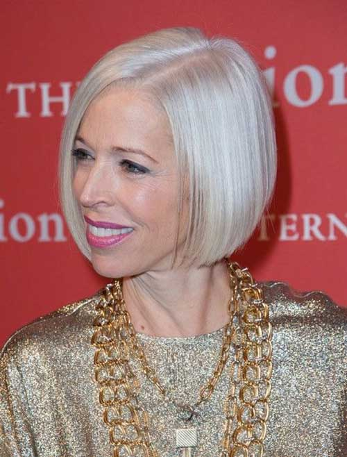 Thin Straight Bob Haircuts for Older Ladies